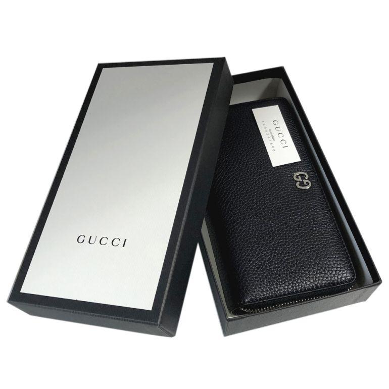 グッチ GUCCI 長財布 メンズ ラウンドファスナー GGメタル レザー ブラック 473928 A7M0N 1000