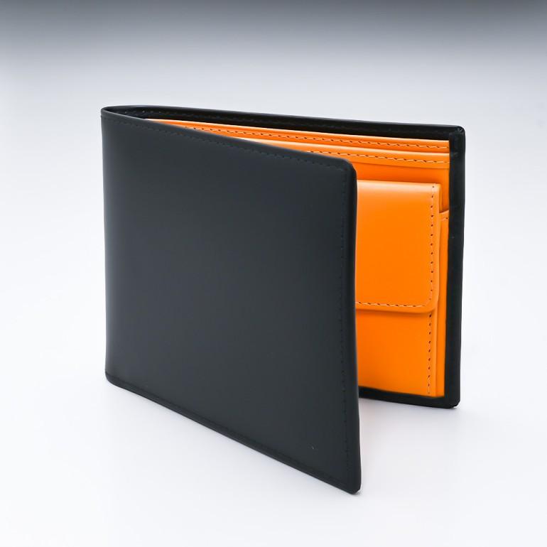 エッティンガー 二つ折り財布 メンズ ブライドルレザー バイカラー BH141JR BLACK ブラック 名入れ可有料