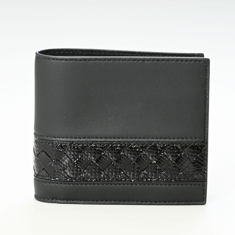 ボッテガヴェネタ 財布 メンズ 二つ折り財布 札入れ 小銭入れなし イントレチャート ネロ ブラック 113993 V1EEI 1000