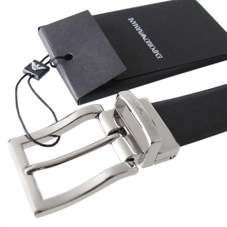 エンポリオ アルマーニ ベルト メンズ ブラック×グレー 幅3cm ストリンガシステム対応 リバーシブル Y4S223 YLQ6E 81972