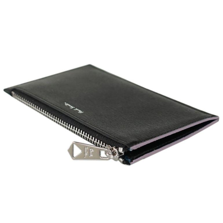 ポールスミス ミニ財布 スマートウォレット コインケース  メンズ 小銭入れ フラグメントケース ブラック バイカラー 6136 FSTRGS 78A Made in ITALY 名入れ可有料