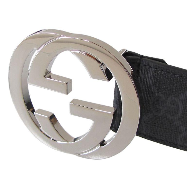グッチ ベルト メンズ GGスプリームキャンバス インターロッキングG バックル ブラック×グレー 411924 KGDHX 8449