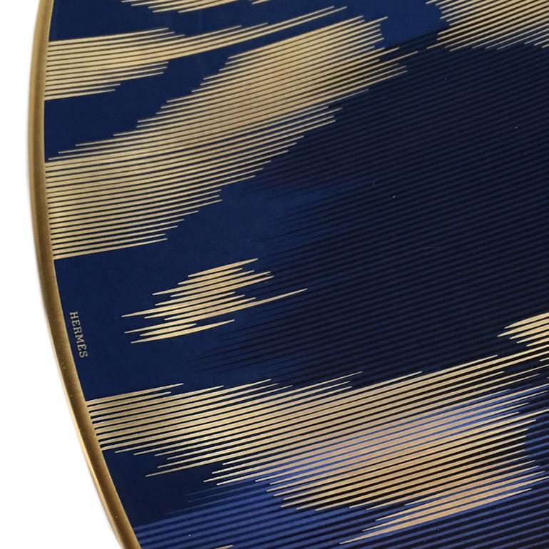 エルメス HERMES ヴォヤージュ アン イカット サフィール サファイア 36063p 33cm 大皿 プレート