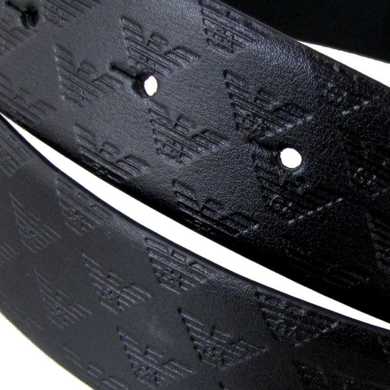 エンポリオ アルマーニ ベルト メンズ ブラック 幅3.2cm ストリンガシステム対応 リバーシブル Y4S098 YKL2E 88001