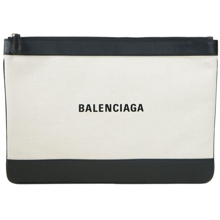 バレンシアガ BALENCIAGA クラッチバッグ メンズ レディース ネイビークリップ NAVY CLIP M ナチュラル/ノアール 420407 AQ37N 1080