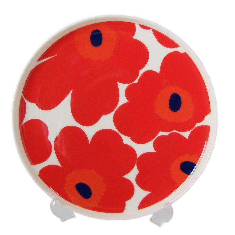 マリメッコ Marimekko プレート 20cm 食器 皿 UNIKKO ウニッコ ホワイト×レッド 067955 001 名入れ可有料 ※名入れ別売り