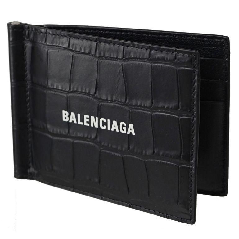 バレンシアガ BALENCIAGA マネークリップ メンズ 二つ折り財布 キャッシュ ビルクリップ Cash Bill Clip クロコ調型押しブラック 625819 1ROP3 1000