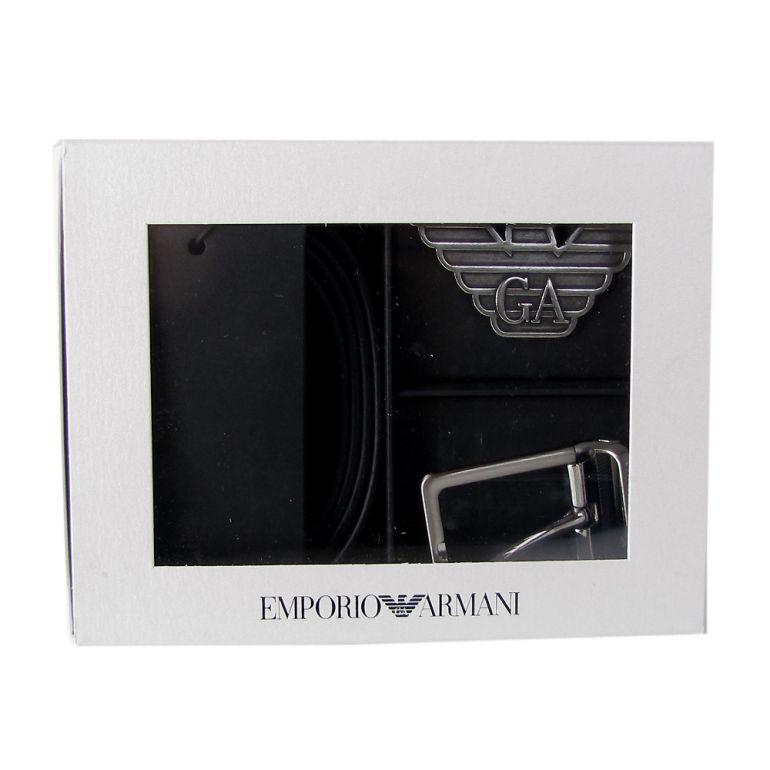 エンポリオ アルマーニ ベルト ギフトボックス メンズ ブラック 幅3.3cm ストリンガシステム対応 リバーシブル 付け替えバックル Y4S270 YLP4X 88001