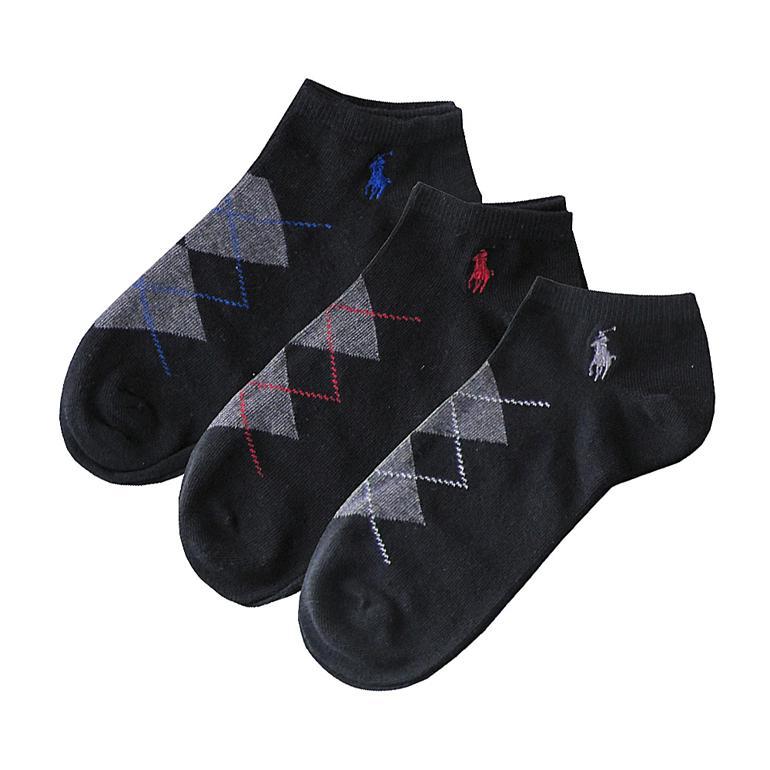 メール便可275円 ポロ ラルフローレン POLO RALPH LAUREN メンズ ソックス 靴下 アーガイル 3足セット ブラック 827024PK BLACKkss