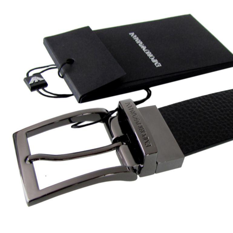 エンポリオ アルマーニ ベルト メンズ ブラック 幅3.5cm ストリンガシステム対応 リバーシブル Y4S195 YLO8J 88001