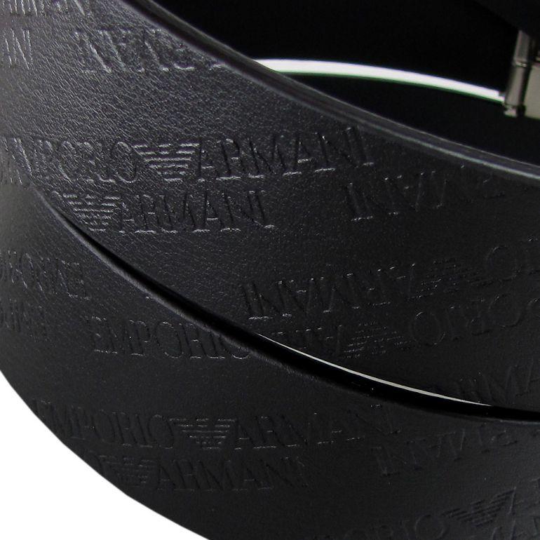 エンポリオ アルマーニ ベルト メンズ オールオーバーロゴ ブラック 幅3.2cm ストリンガシステム対応 Y4S221 YCM7E 80001