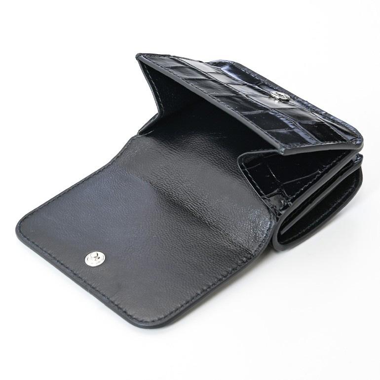 バレンシアガ BALENCIAGA 3つ折り財布 レディース ミニ財布 ミニウォレット スマートウォレット キャッシュ CASH クロコ調型押し ブラック 593813 1LRR3 1090
