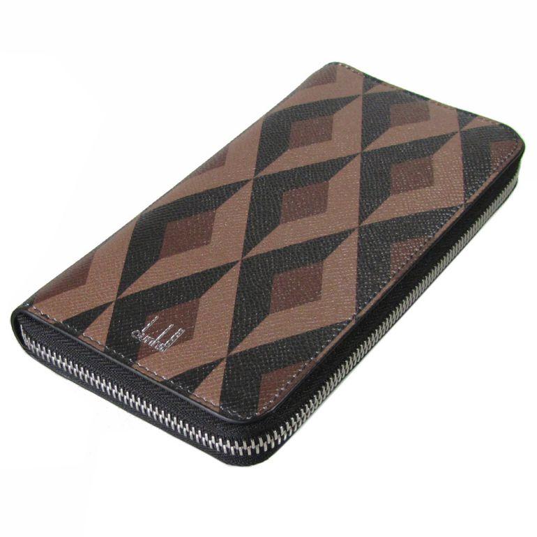 ダンヒル 長財布 メンズ ラウンドファスナー カドガン エンジンターン ブラウン 18F2180CT201 名入れ可有料