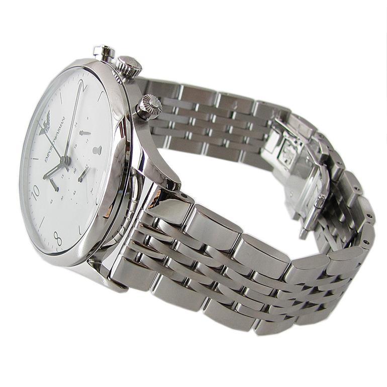 エンポリオ アルマーニ 腕時計 EMPORIO ARMANI クロノグラフ CLASSIC クラシック ホワイト×シルバー ステンレスベルト メンズ AR1879
