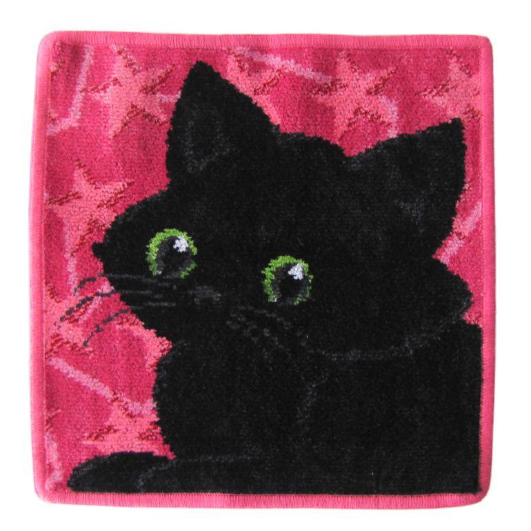 メール便可275円 純正ビニール袋付 フェイラー ハンカチ ハンドタオル タオルハンカチ 25cm ブラックキャット 黒猫