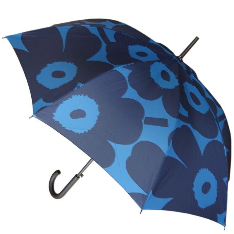 マリメッコ 傘 長傘 アンブレラ ジャンプ傘 雨傘 マニュアルウニッコ ブルー×ダークブルー 048370 550 レディース メンズ 名入れ可有料 ※名入れ別売り