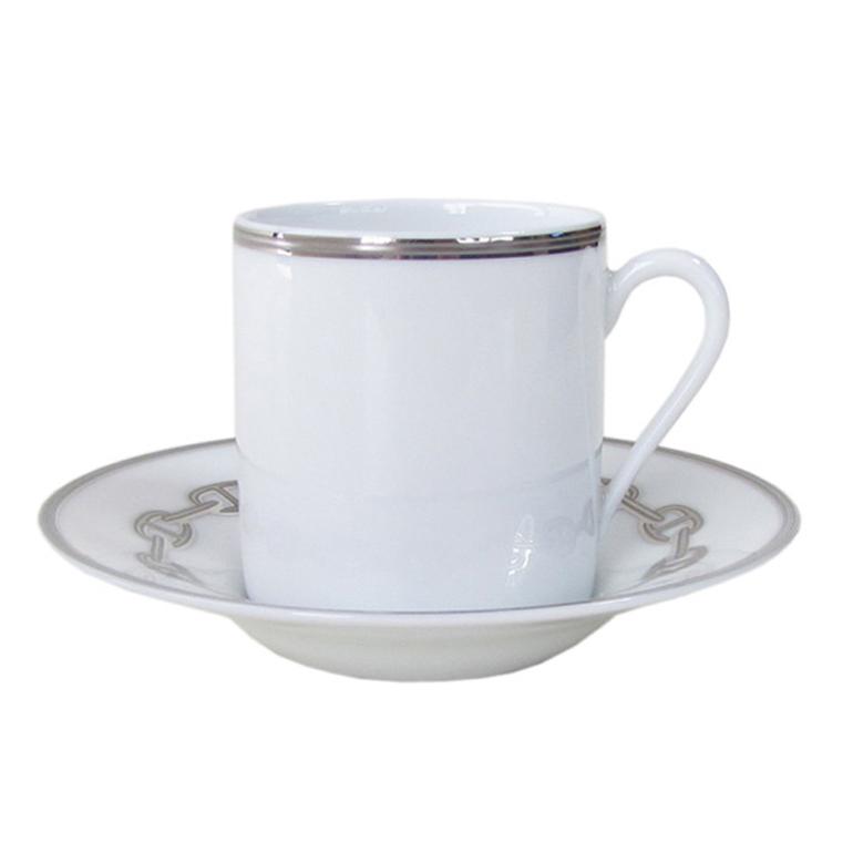 エルメス HERMES 単品 シェーヌダンクルプラチナ 4117P コーヒーカップ&ソーサー 一客 90ml
