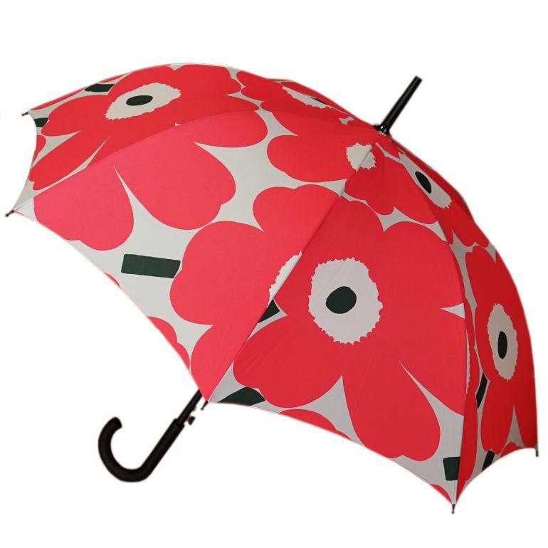 マリメッコ 傘 レディース Stick Unikko ウニッコ 長傘 アンブレラ ジャンプ傘 雨傘 マニュアル ピンク×グレー×ベージュ 049032 361 名入れ可有料 ※名入れ別売り