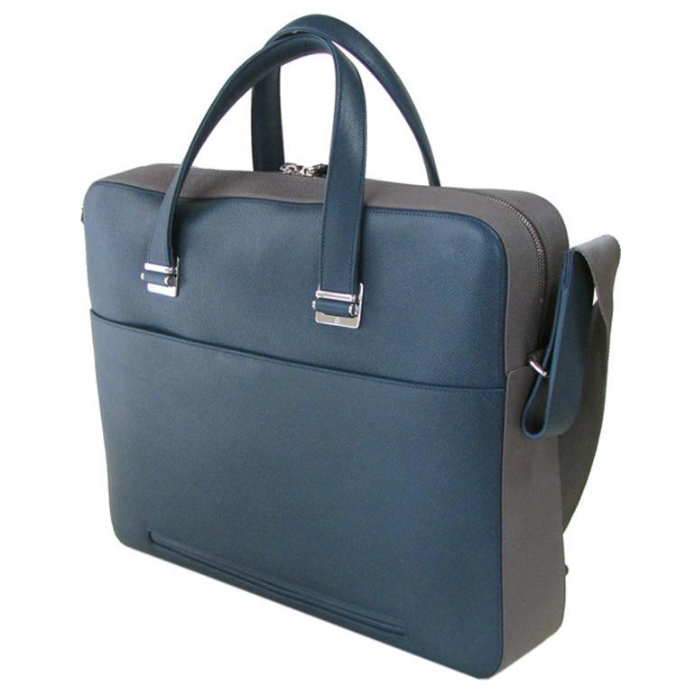 ダンヒル メンズ ビジネスバッグ ブリーフケース ボードン BOURDON シングルドキュメントケース グリーン×グレー L3Y281V