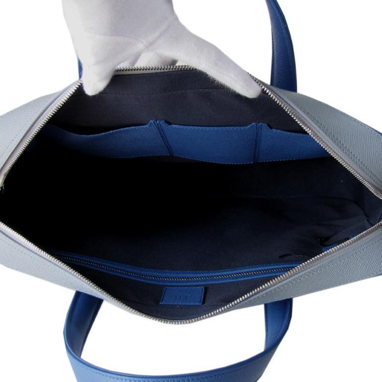 ダンヒル メンズ ビジネスバッグ ブリーフケース ボードン BOURDON シングルドキュメントケース ブルー×グレー L3Y281D