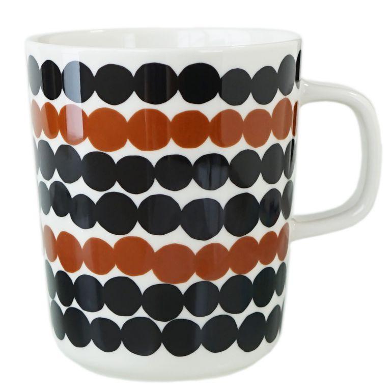 マリメッコ マグカップ 250ml Siirtolapuutarha シイルトラプータルハ コップ 食器 ホワイト×ブラック×ブラウン 069825 189 名入れ可有料