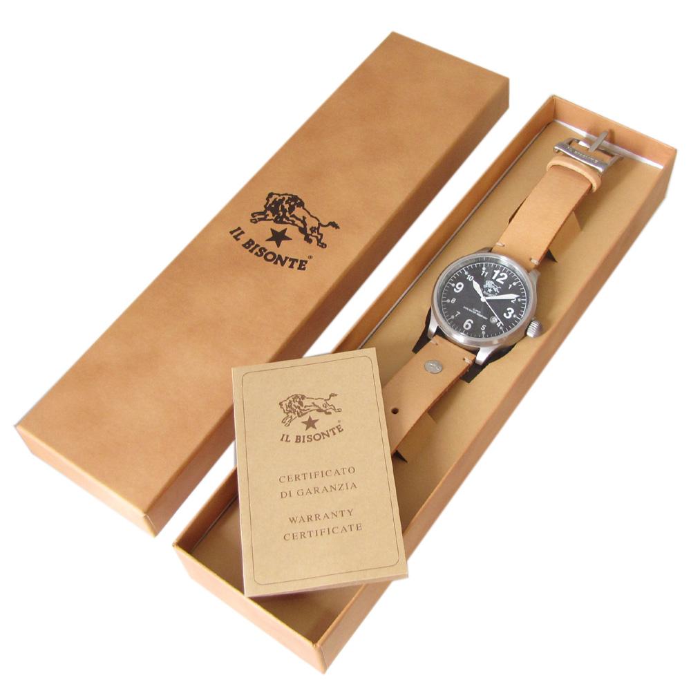 イルビゾンテ IL BISONTE 時計 腕時計 カウハイドレザー ブラック文字盤 レザーバンド ナチュラル ヌメ H0252 P2 120N