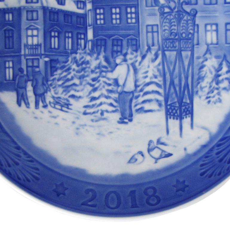 【品質証明書 リーフレット 皿立て付き】 ロイヤルコペンハーゲン イヤープレート クリスマスプレート 2018年 平成30年 1901118 名入れ可有料 ※名入れ別売り