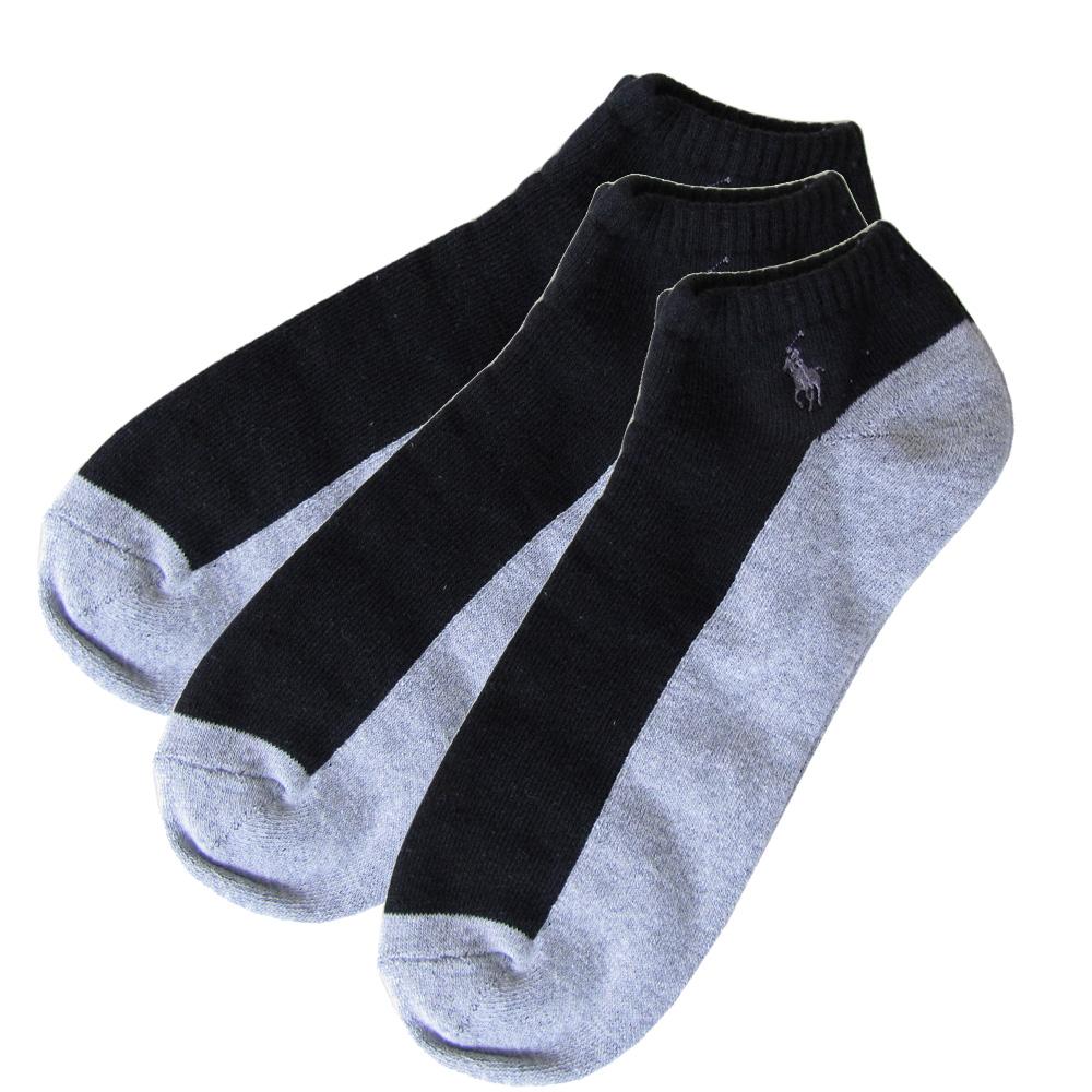 メール便可275円 ポロ ラルフローレン メンズ ソックス 靴下 3足セット 無地 バイカラー ブラック×グレー 80101PG BLACK