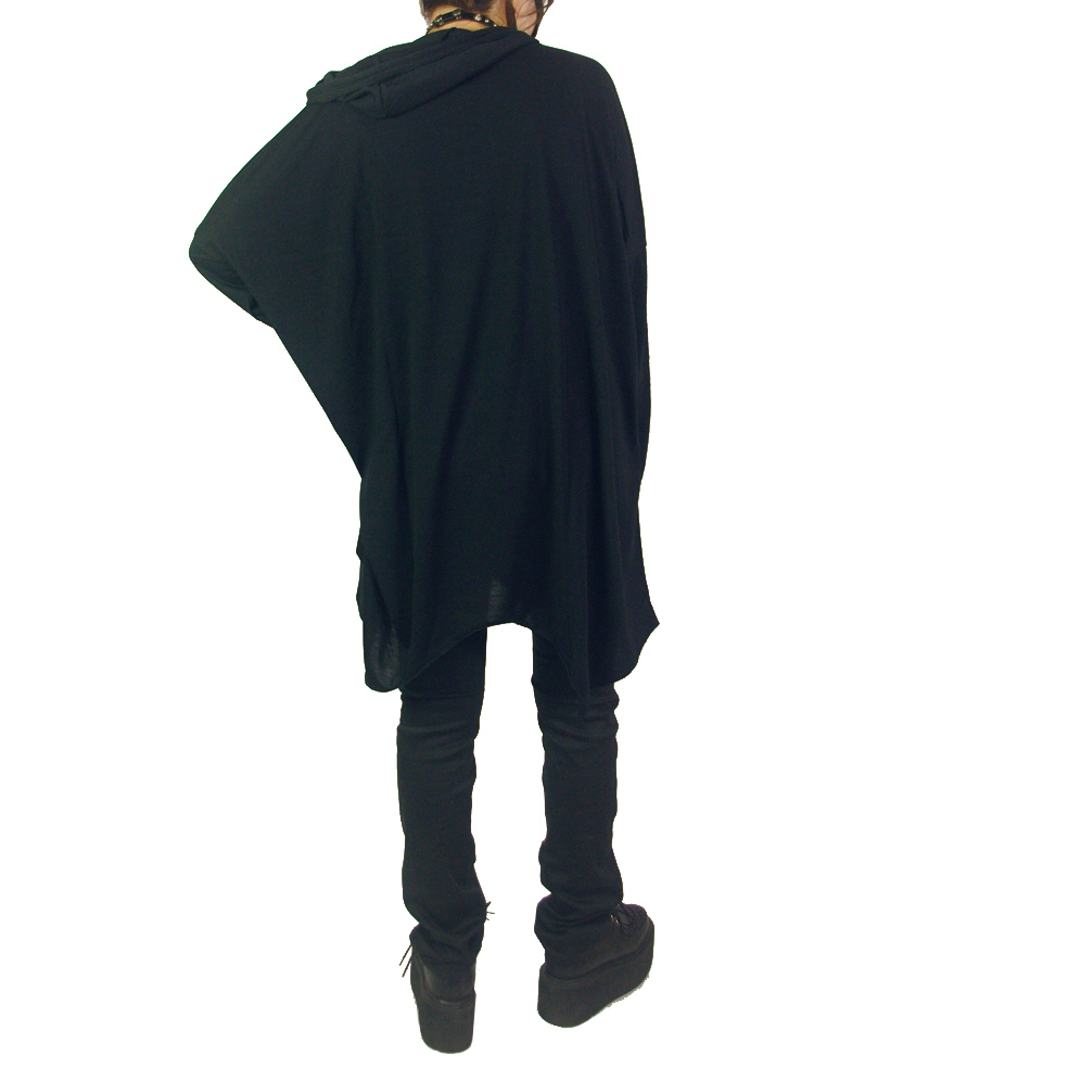 (202T-0002) crow × treasure プリント フード付き イレギュラーへム プルオーバー