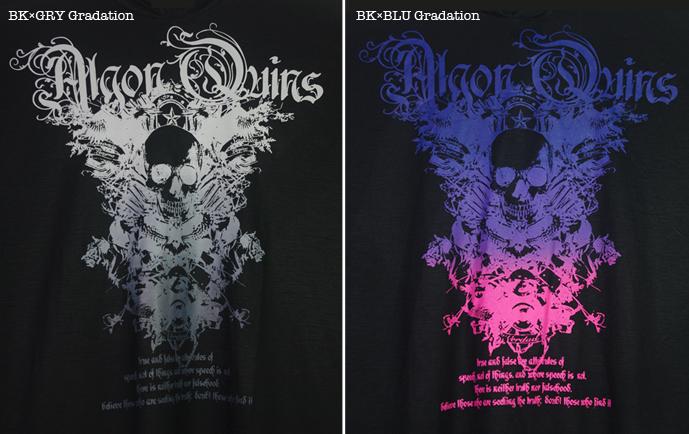 (202T-0006) skull motif Gradation プリント フード付き イレギュラーへム プルオーバー