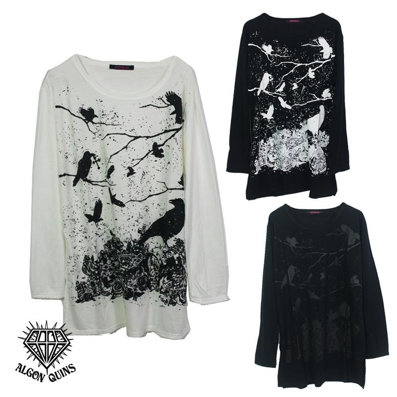 (202T-0008)  crow × treasure プリント ベーシック 長袖 Tシャツ