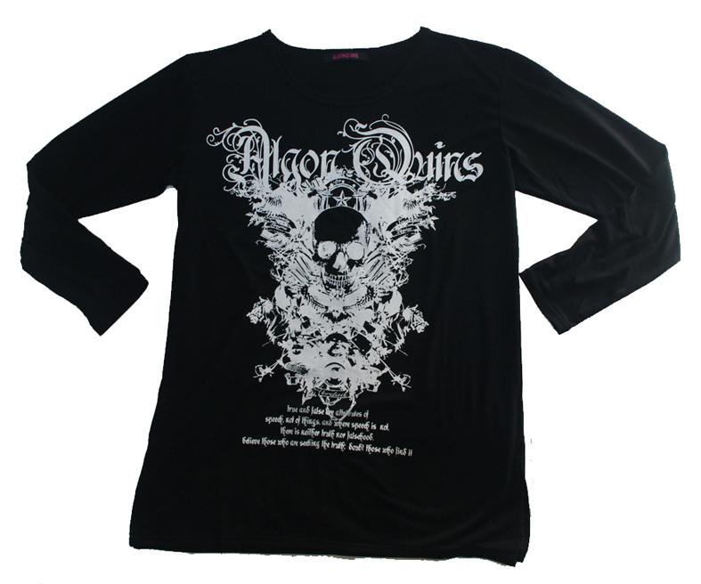 (202T-0009)  skull motif プリント ベーシック 長袖 Tシャツ