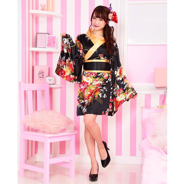 花魁 コスプレ ミニ 衣装 着物 ドレス 衣装 黒 浴衣 可愛い キモノジャパネクス トキメキグラフィティ