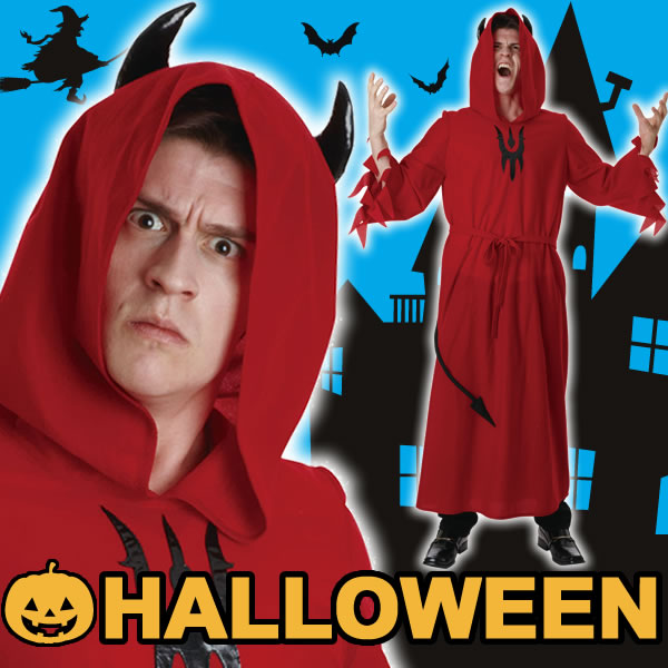 デビル コスプレ ローブ 悪魔 コスチューム 仮装 ハロウィン 赤 レッド メンズ デビルローブレッド Men's