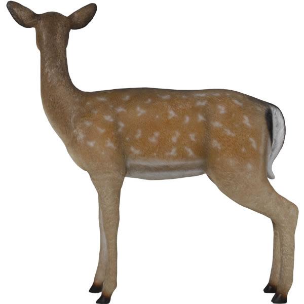 鹿 置物 オブジェ シカ ディスプレー オーナメント 代金引換不可 FRP制 ディスプレイ リアル 動物 アニマル 等身大 実物大 インテリア 白い尻尾の雌鹿