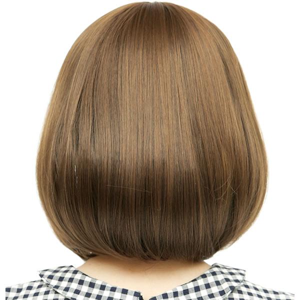 ウィッグ ボブ ショート 耐熱 フルウィッグ ソフトボブ ライトブラウン コスプレ 自然 wig かつら WIGGY RICH