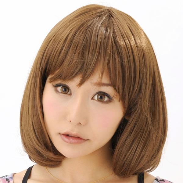 ウィッグ ボブ ショート 耐熱 フルウィッグ ソフトボブ マロンブラウン コスプレ 自然 wig かつら WIGGY RIC