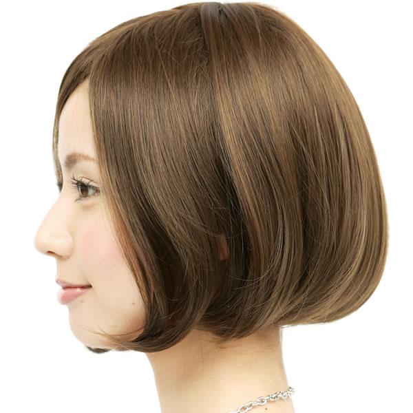 ウィッグ ボブ ショート 耐熱 フルウィッグ シルキーボブ ライトブラウン コスプレ 自然 wig かつら WIGGY RICH