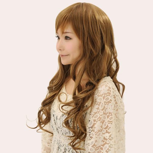 ウィッグ ロング 耐熱 フルウィッグ カールロングミックス ミックスブラウン ミディアム コスプレ 自然 wig かつら WIGGY RICH