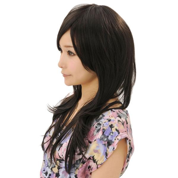 ウィッグ ロング 耐熱 フルウィッグ サイドパーツシャギー ブラウニーBK ミディアム コスプレ 自然 wig かつら WIGGY RICH