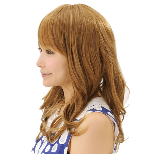 ウィッグ ロング 耐熱 フルウィッグ フワミディロング ゴールドブラウン ミディアム コスプレ 自然 wig かつら WIGGY RICH