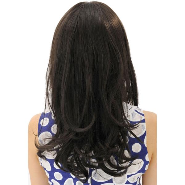 ウィッグ ロング 耐熱 フルウィッグ フワミディロング ブラウニーブラック ミディアム コスプレ 自然 wig かつら WIGGY RICH
