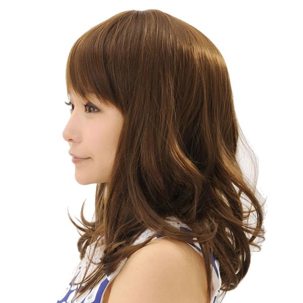 ウィッグ ロング 耐熱 フルウィッグ フワミディロング ライトブラウン ミディアム コスプレ 自然 wig かつら WIGGY RICH