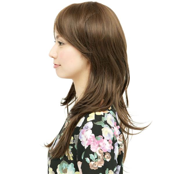 ウィッグ ロング 耐熱 フルウィッグ サイドパーツシャギー ライトブラウン ミディアム コスプレ 自然 wig かつら WIGGY RICH