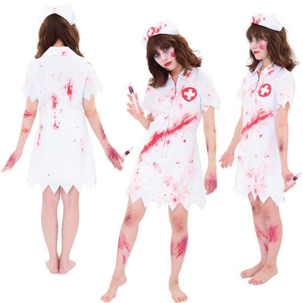 ナース服 コスプレ ゾンビ スプラッターナース ナース ワンピース 白衣 ホラー 女性 コスチューム 血のり