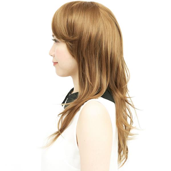 ウィッグ ロング 耐熱 フルウィッグ サイドパーツシャギー ゴールドブラウン ミディアム コスプレ 自然 wig かつら WIGGY RICH