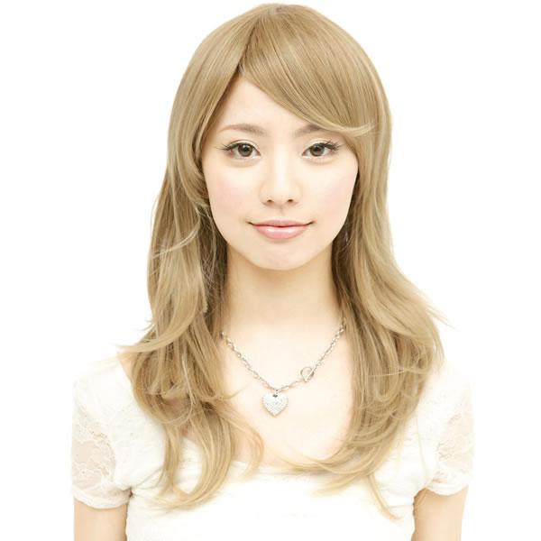 ウィッグ ロング 耐熱 フルウィッグ サイドパーツシャギー ナチュラルゴールド ミディアム コスプレ 金髪 自然 wig かつら WIGGY RICH
