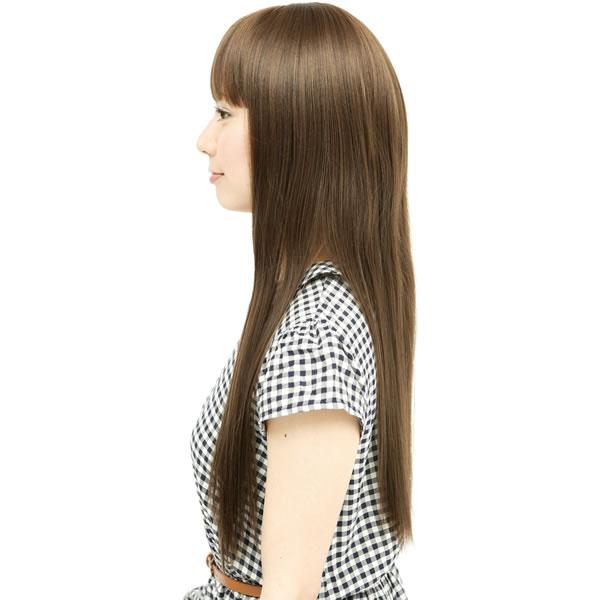 ウィッグ ロング ストレート 耐熱 フルウィッグ ストレートロング ライトブラウン コスプレ 自然 wig かつら WIGGY RICH