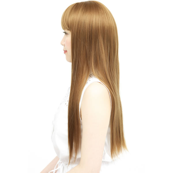 ウィッグ ロング ストレート 耐熱 フルウィッグ ストレートロング ゴールドブラウン コスプレ 自然 wig かつら WIGGY RICH