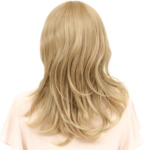 ウィッグ ロング 耐熱 フルウィッグ フワミディロング ナチュラルゴールド ミディアム コスプレ 金髪 自然 wig かつら WIGGY RICH